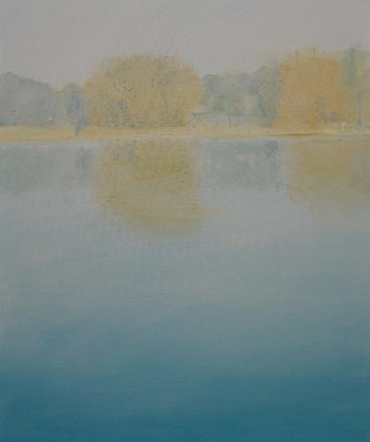 Ulrich Hollmann, Seeufer mit Sonne, Landschaft: See/Meer, Landschaft: Sommer, Neo-Expressionismus