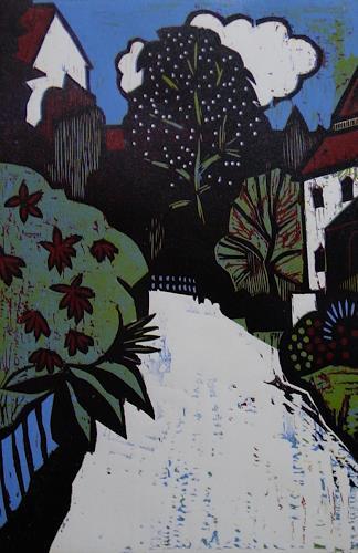 Ulrich Hollmann, Dorfsraße in Frankreich, Landschaft: Sommer, Diverse Bauten, Neo-Expressionismus, Expressionismus