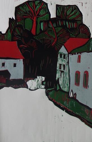 Ulrich Hollmann, Baumgruppe mit Häusern, Diverse Bauten, Diverse Landschaften, Neo-Expressionismus