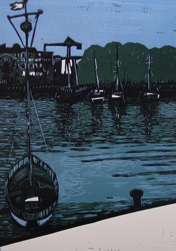 Ulrich Hollmann, Hafen Ratjada, Landschaft: See/Meer, Natur: Wasser, Neo-Expressionismus