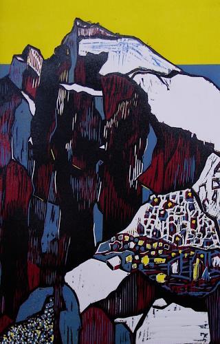 Ulrich Hollmann, Steile Felslandschaft, Landschaft: Berge, Natur: Gestein, Neo-Expressionismus