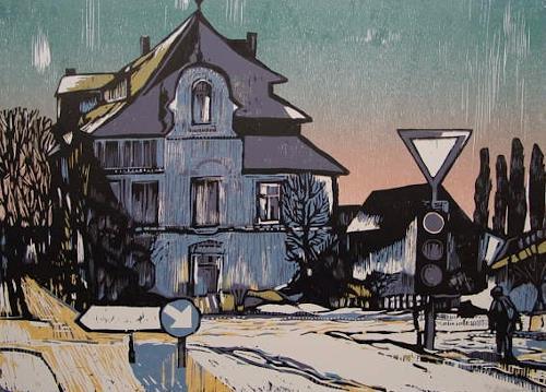 Ulrich Hollmann, Blaues Haus im Winter, Architektur, Diverse Menschen, Neo-Expressionismus, Expressionismus