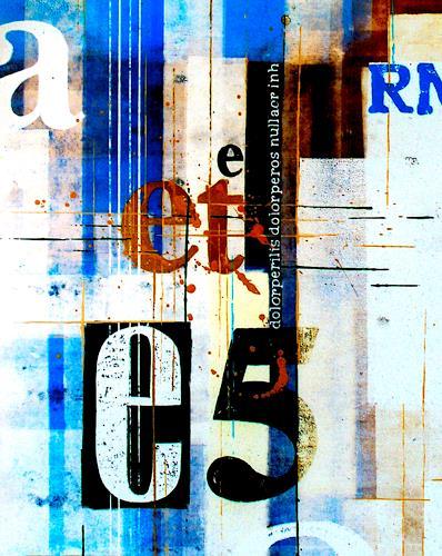 osinger m. rainer, osinger.typoart. et-blauweis, Abstraktes, Symbol, Colour Field Painting, Expressionismus