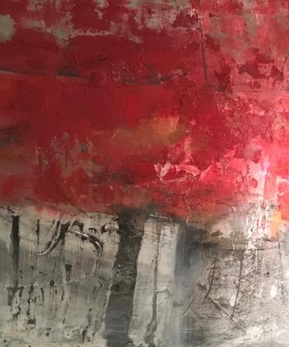 Michael Maderthaner, Illusionen rote Bäume, Landschaft, Landschaft, Abstrakter Expressionismus, Expressionismus