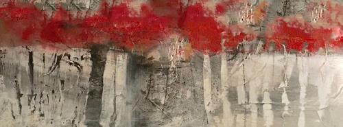 Michael Maderthaner, Illusionen rote Bäume, Landschaft, Landschaft, Abstrakte Kunst
