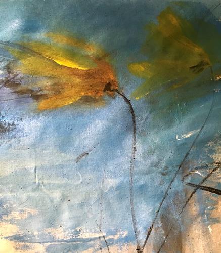 Michael Maderthaner, Blume im Wind, Pflanzen: Blumen, Pflanzen, Abstrakter Expressionismus, Expressionismus
