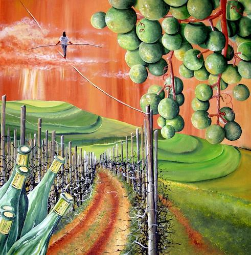 Thomas Suske, wine in balance with nature, Pflanzen: Früchte, Landschaft: Hügel, Postsurrealismus, Abstrakter Expressionismus