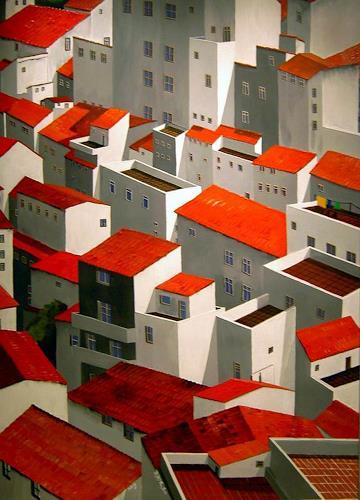 Thomas Suske, Über den Dächern der weißen Dörfer, Diverse Bauten, Architektur, Realismus