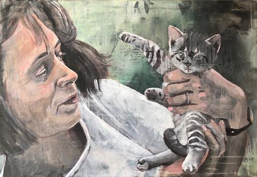 Petra Seibert, Eveline und die Katze, Menschen, Tiere, Gegenwartskunst