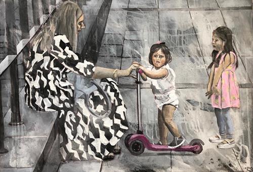 Petra Seibert, Mädchen auf der Kö, Menschen, Freizeit, Gegenwartskunst