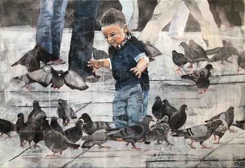 Petra Seibert, Tauben, Menschen, Tiere, Gegenwartskunst