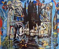 Rudolf-Lehmann-Landschaft-See-Meer-Abstraktes-Gegenwartskunst--Neo-Expressionismus