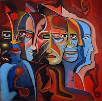 Rudolf-Lehmann-Menschen-Gesichter-Diverse-Gefuehle-Gegenwartskunst--Neo-Expressionismus