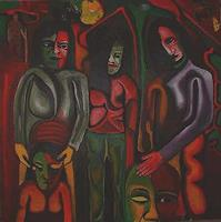 Rudolf-Lehmann-Menschen-Gruppe-Diverse-Gefuehle-Gegenwartskunst--Neo-Expressionismus