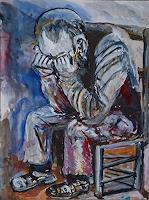 Rudolf-Lehmann-Gefuehle-Trauer-Menschen-Mann-Gegenwartskunst--Neo-Expressionismus