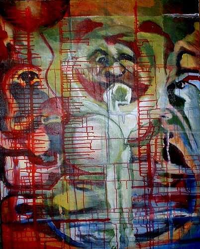 Rudolf Lehmann, Dark side of the moon, Weltraum: Mond, Menschen: Gesichter, Neo-Expressionismus