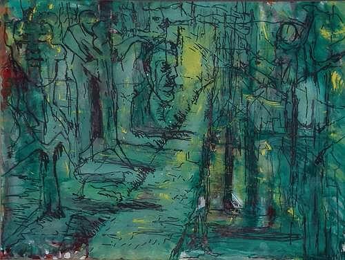 Rudolf Lehmann, Labyrinth, Abstraktes, Fantasie, Neo-Expressionismus