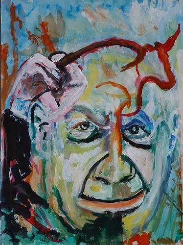 Rudolf Lehmann, Picasso malt Stier, Fantasie, Menschen: Porträt, Neo-Expressionismus