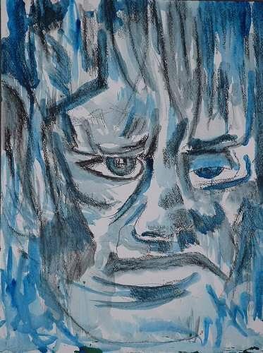 Rudolf Lehmann, Blue, Menschen: Porträt, Skurril, Neo-Expressionismus