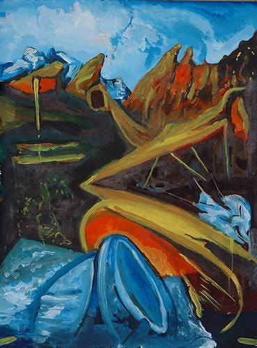 Rudolf Lehmann, Im Gebirge, Abstraktes, Landschaft: Berge, Neo-Expressionismus
