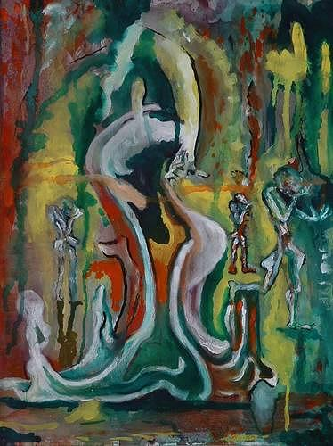 Rudolf Lehmann, Verschmolzen, Abstraktes, Bewegung, Neo-Expressionismus