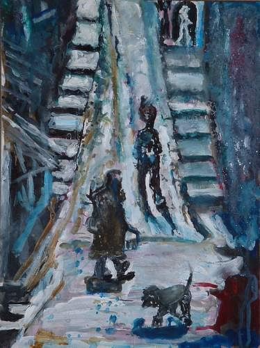 Rudolf Lehmann, Städtchen im Süden, Wohnen: Dorf, Gefühle: Geborgenheit, Neo-Expressionismus