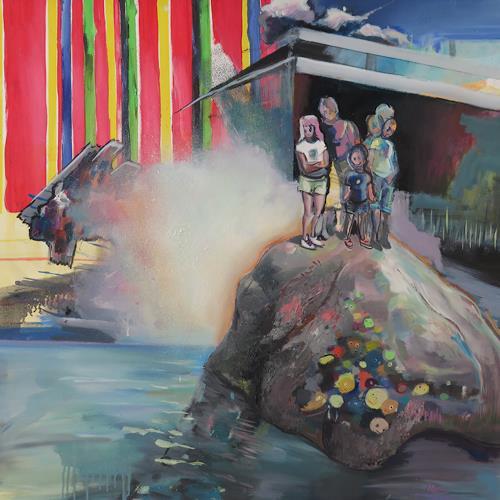 Michael Ebel, Elefant, Menschen: Gruppe, Landschaft: Sommer, Abstrakte Kunst, Abstrakter Expressionismus