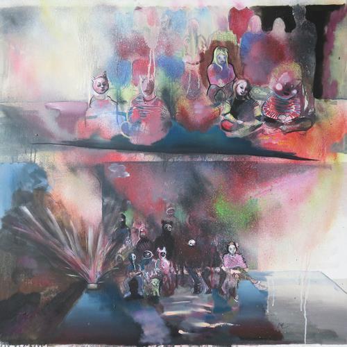 Michael Ebel, Gruppenbild mit Explosion, Menschen: Gruppe, Abstrakte Kunst, Expressionismus