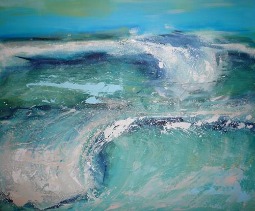 Sandra Frauchiger-Schlug, Wellen, Landschaft: See/Meer, Impressionismus, Abstrakter Expressionismus