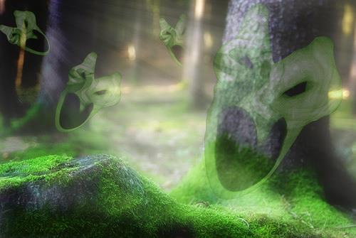 Rotraut Richter, Gespensterwald Ghost Forest, Natur: Wald, Fantasie, Gegenwartskunst, Abstrakter Expressionismus