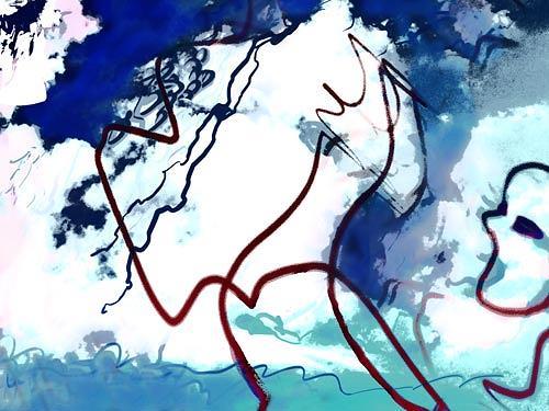 Rotraut Richter, Wolkenfigurenmalerin, Natur: Luft, Situationen, Gegenwartskunst, Abstrakter Expressionismus