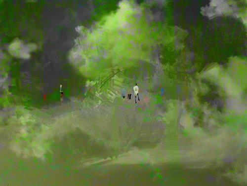 Rotraut Richter, Wolkenhexenwald mit Kreis von Cardiff & Miller, Diverse Landschaften, Skurril, New Image Painting, Expressionismus