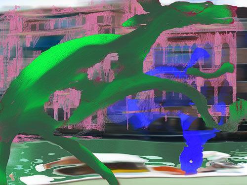 Rotraut Richter, Canal Grande Venedig, Diverse Verkehr, Diverse Tiere, New Image Painting, Abstrakter Expressionismus