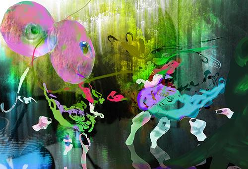 Rotraut Richter, Spielwiese der Fantatiere, Diverse Romantik, Skurril, New Image Painting, Expressionismus