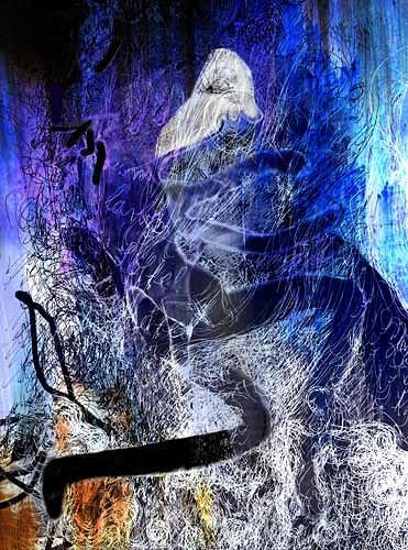 Rotraut Richter, Blaue Nacht, Poesie, Skurril, New Image Painting, Abstrakter Expressionismus