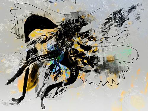 Rotraut Richter, besonderer Vogel, Tiere: Luft, Skurril, New Image Painting, Abstrakter Expressionismus