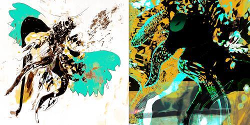 Rotraut Richter, Lichtvögel, Diverse Tiere, Fantasie, New Image Painting, Abstrakter Expressionismus