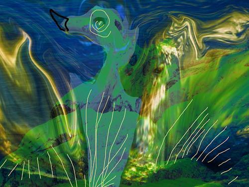 Rotraut Richter, Blaugrünes Flügeltier, Fantasie, Diverse Tiere, New Image Painting, Abstrakter Expressionismus