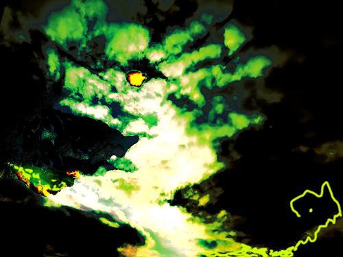 Rotraut Richter, Fantatier grün, Skurril, Fantasie, Gegenwartskunst, Abstrakter Expressionismus