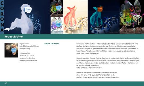 "Rotraut Richter, "" CORONA- FANTATIERE"", Skurril, Diverse Tiere, New Image Painting"