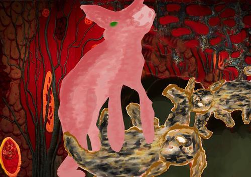 Rotraut Richter, HÖHLEN-STORY, Skurril, Fantasie, Gegenwartskunst, Abstrakter Expressionismus