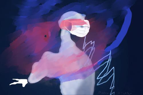 Rotraut Richter, CORONADRACHEN MIT MASKE, Skurril, Fantasie, Gegenwartskunst, Abstrakter Expressionismus