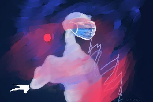 Rotraut Richter, FEURIGER CORONADRACHEN + MASKE, Skurril, Gefühle: Horror, New Image Painting, Abstrakter Expressionismus