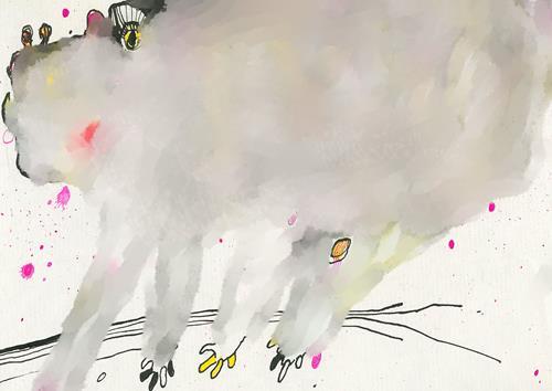 Rotraut Richter, WOLKENFANTATIER A, Diverse Tiere, Fantasie, New Image Painting, Abstrakter Expressionismus