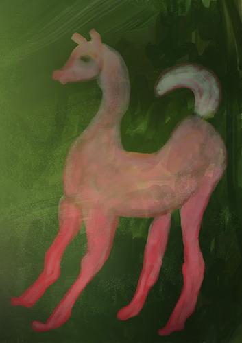 Rotraut Richter, Fantapferd Amazing horse, Fantasie, Tiere: Land, New Image Painting