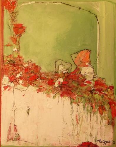 Philippin, Inge, Red Flowers, Abstraktes, Pflanzen: Blumen, Gegenwartskunst, Expressionismus