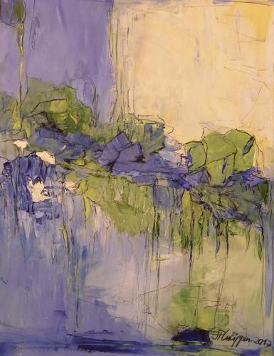 Philippin, Inge, Water Lilies Pond, Abstraktes, Pflanzen: Blumen, Gegenwartskunst, Expressionismus