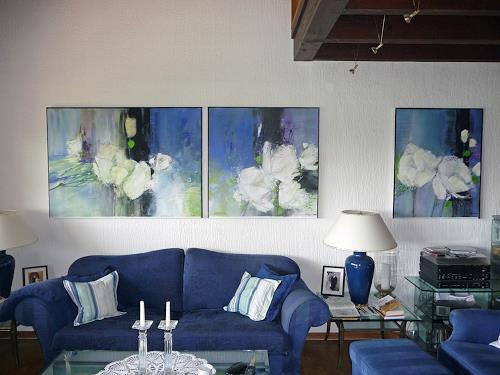 majestic flowers 1 bis 3 im wohnzimmer von philippin inge abstraktes pflanzen blumen malerei. Black Bedroom Furniture Sets. Home Design Ideas