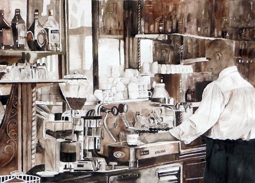 Philippin, Inge, Stadtcafe, Arbeitswelt, Menschen: Mann, Gegenwartskunst, Expressionismus