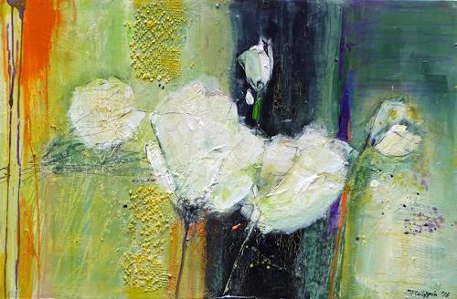 Philippin, Inge, White Tulips, Pflanzen: Blumen, Dekoratives, Gegenwartskunst, Expressionismus